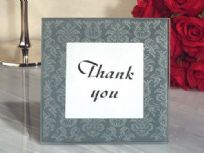 Classic Damask Design Glass Place Card Photo Frame